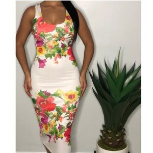 XOXO White Midi Dress With Multi-Colored Flowers